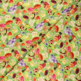 Dear Stella cotton fabric Chef's table - green Mushroom field x 10cm