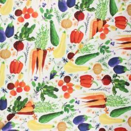 Dear Stella cotton fabric Chef's table - white Veggie haul x 10cm