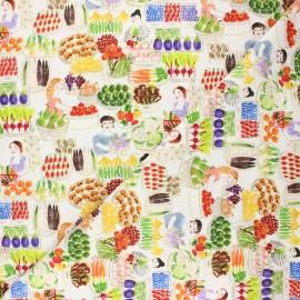 Dear Stella cotton fabric Chef's table - white Market day x 10cm