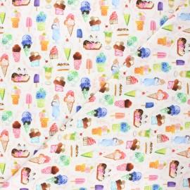 Dear Stella cotton fabric Chef's table - white Ice cream x 10cm