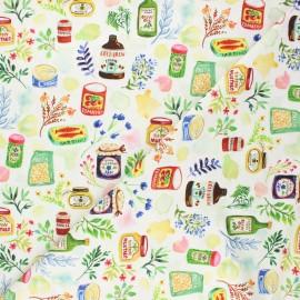 Dear Stella cotton fabric Chef's table - white Gourment food x 10cm