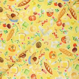 Tissu coton Dear Stella Chef's table - Carb heaven - jaune x 10cm