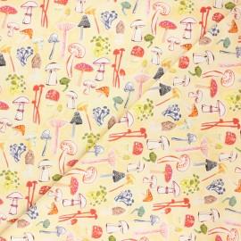 Dear Stella cotton fabric Chef's table - pale yellow Funghi x 10cm