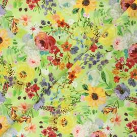 Dear Stella cotton fabric Chef's table - green Edible flowers x 10cm