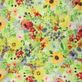 Tissu coton Dear Stella Chef's table - Edible flowers - vert x 10cm