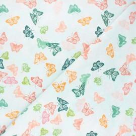 Dear Stella cotton fabric Orangerie - light blue Butterflies x 10cm