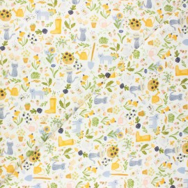 Dear Stella cotton fabric Meant to bee - white Gardening cats x 10cm
