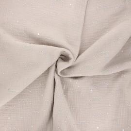 Tissu double gaze de coton Pimbolux argenté - grège x 10cm