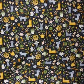 Dear Stella cotton fabric Meant to bee - midnight blue Gardening cats x 10cm