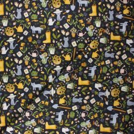Tissu coton Dear Stella Meant to bee - Gardening cats - bleu nuit x 10cm