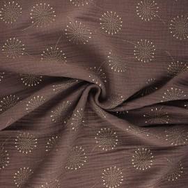 Tissu double gaze de coton Fireworks - grège x 10cm