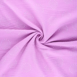 Tissu double gaze de coton Fireworks - chocolat x 10cm