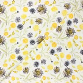 Dear Stella cotton fabric Meant to bee - white Mums & cornflowers x 10cm