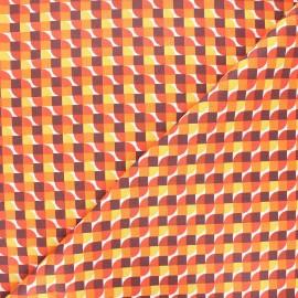 Cretonne cotton fabric - orange Grafiko x 10cm