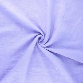 Tissu double gaze de coton Cosmicolo argenté - parme x 10cm