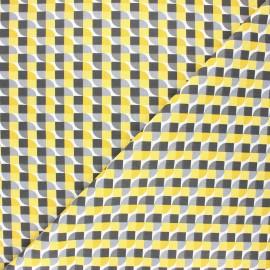 Cretonne cotton fabric - yellow Grafiko x 10cm