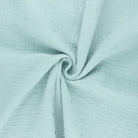 Tissu double gaze de coton Cosmicolo argenté - vert opaline x 10cm