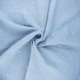 Tissu double gaze de coton Pimbolux argenté - bleu clair x 10cm