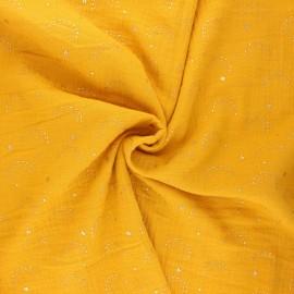 Tissu double gaze de coton Pimbolux doré - miel x 10cm
