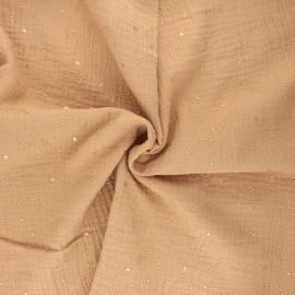 Tissu double gaze de coton Pimbolux doré - camel x 10cm