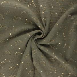 Tissu double gaze de coton Pimbolux doré - kaki x 10cm