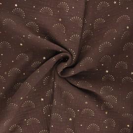 Tissu double gaze de coton Pimbolux doré - chocolat x 10cm