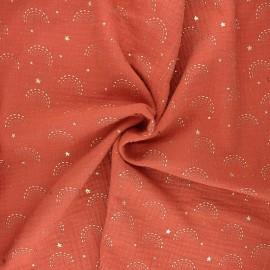 Double gauze cotton fabric - rust Pimbolux x 10cm