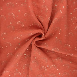 Tissu double gaze de coton Pimbolux doré - rouille x 10cm