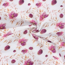 Double gauze cotton fabric - off-white Berries and flowers x 10cm