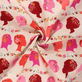 AGF poplin cotton fabric - Open heart - pink beige Unique beauty x 10cm
