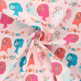 AGF poplin cotton fabric - Open heart - pink Unique beauty x 10cm