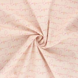 Tissu popeline de coton AGF Open heart - Written love - beige rosé x 10cm