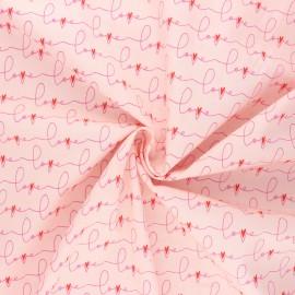 AGF poplin cotton fabric - Open heart - pink  Written love x 10cm