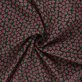 AGF poplin cotton fabric - Open heart - black Sweet floret x 10cm