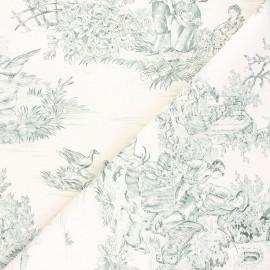 Tissu toile de Jouy Pastorale - vert x 48cm