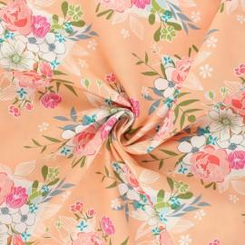 AGF poplin cotton fabric - Open heart - peach Flowering x 10cm