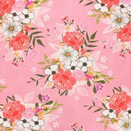 AGF poplin cotton fabric - Open heart - pink Flowering x 10cm