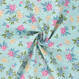 Tissu popeline de coton AGF Open heart - Cherished gatherings - bleu x 10cm