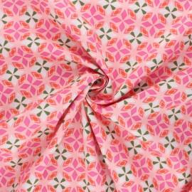 Tissu popeline de coton AGF Open heart - Blooming essence - rose x 10cm
