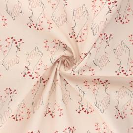 Tissu popeline de coton AGF Open heart - Better together - beige rosé x 10cm