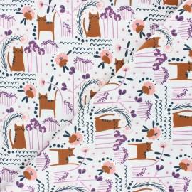 Tissu coton Cotton Sundown - Elsies cat - lilas x 10cm