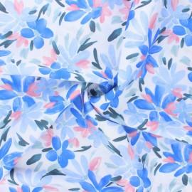 Tissu satin de coton Atelier 27 L'enjoué - bleu x 10 cm
