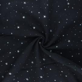 Tissu double gaze de coton Cosmicolo argenté - noir x 10cm