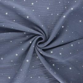 Tissu double gaze de coton Cosmicolo argenté - bleu ardoise x 10cm