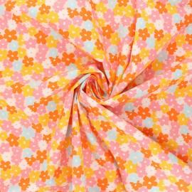 Tissu popeline de coton AGF Open heart - Flowering - rose x 10cm