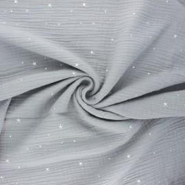 Tissu double gaze de coton Cosmicolo argenté - gris x 10cm