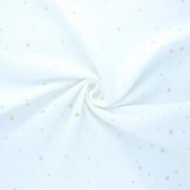 Double gauze cotton fabric - white/gold Cosmicolo x 10cm
