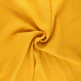 Tissu double gaze de coton Cosmicolo doré - jaune moutarde x 10cm