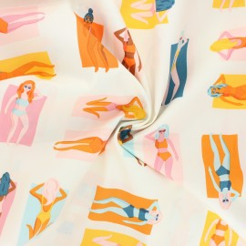 AGF poplin cotton fabric - Sunburst - orange Fun in the Sun x 10cm
