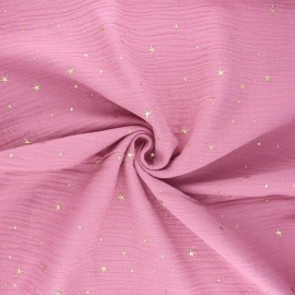Double gauze cotton fabric - yellow/gold Cosmicolo x 10cm